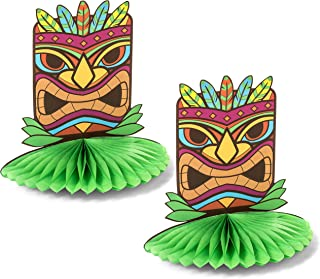 2 Pack - Tiki Statue Hawaiian Pop Up Table Centerpieces - Perfect Tropical Luau Party Decoration Idea - Haute Soiree
