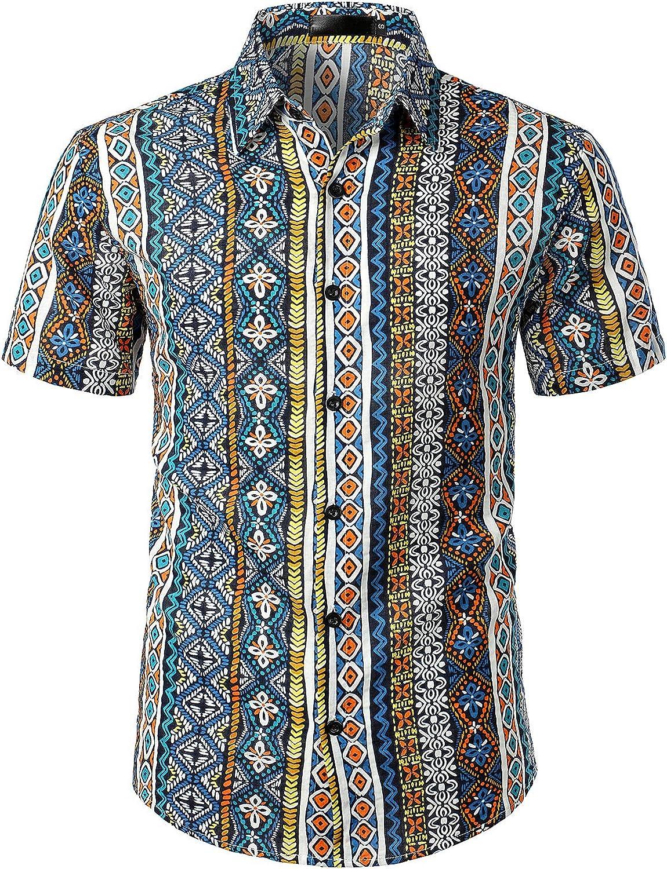 JOGAL Men's Paisley Boho Button Down Short Sleeve Hawaiian Shirt