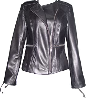 24344b1f17a NETTAILOR 4069 Leather Collarless Motorcycle Jackets Womens Light Lamb