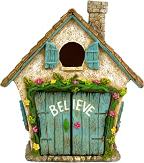 """Best Twig & Flower The Adorable Believe Fairy Garden House - 8"""" Tall - Hand Painted (with Doors That Open) Review"""