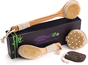 Dry Brushing Body Brush Set: Bamboo - Natural Boar Bristle Dry Body Brushes Best for Cellulite and Lymphatic Flow, Dry Skin Exfoliation, Detox - Brush with Long Handle, Pumice Stone Gift, How To Guide