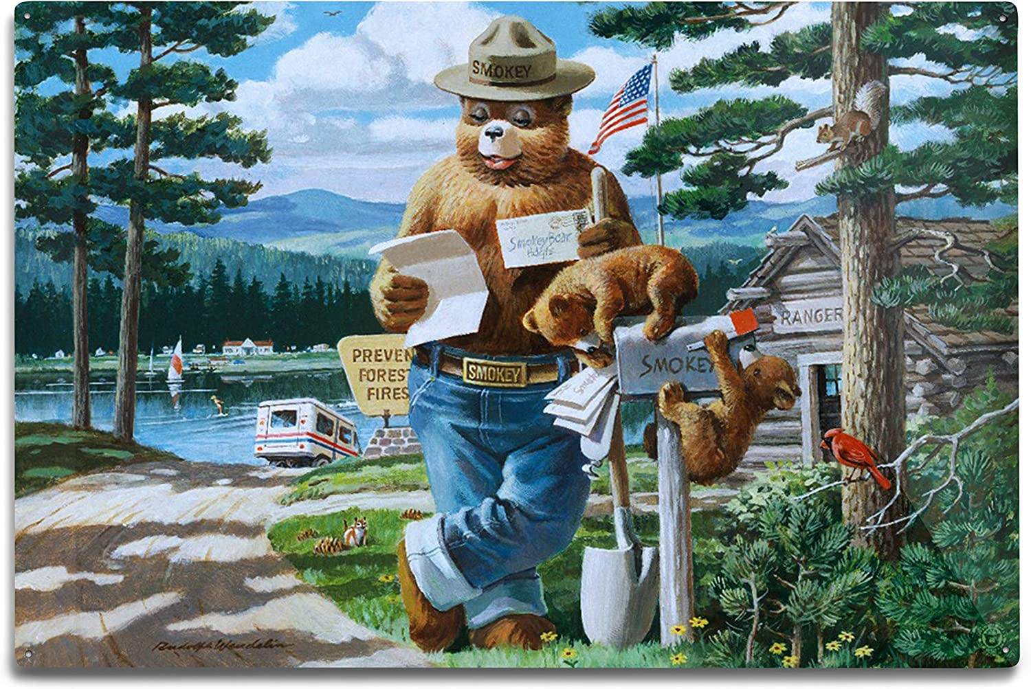Lantern Press Smokey Outlet sale feature Bear Reading at Vintage Post 40% OFF Cheap Sale Mail Mailbox