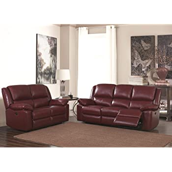 Burgundy Red High Grade Leather Manual Reclining 3 Seater Sofa + 2 Seater Leather Manual Recliner Sofa Suite TOLEDO (3+2)