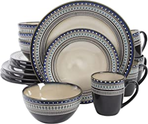 Gibson Overseas, Inc. Gibson Elite 101983.16RM Magello 16 Piece Reactive Glaze Dinnerware Set Service of 4, Cream/Brown/Blue,