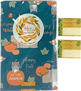 Fun Fall Flannel Vinyl Tablecloth: Colorful Playful Cats on The Farm with Pumpkins and Hay Bales, Teal Orange Beige (Farm ...
