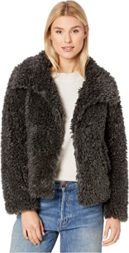 Fluffy Faux-Sherpa Snap Jacket with Side Pockets