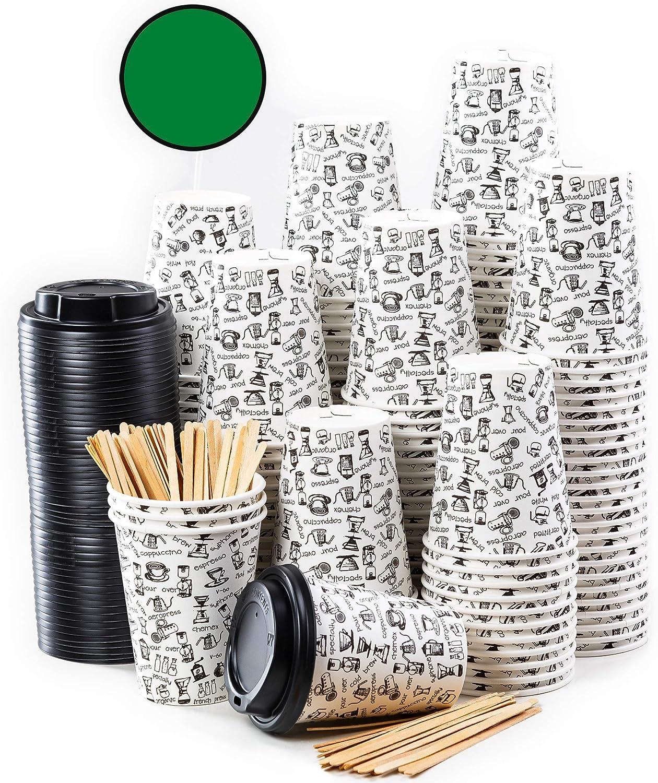 160 Vasos Desechables de Café para Llevar - Vasos Carton 360 ml 12 Onzas con Tapas y Agitadores de Madera para Servir el Café, el Té, Bebidas Calientes y Frías