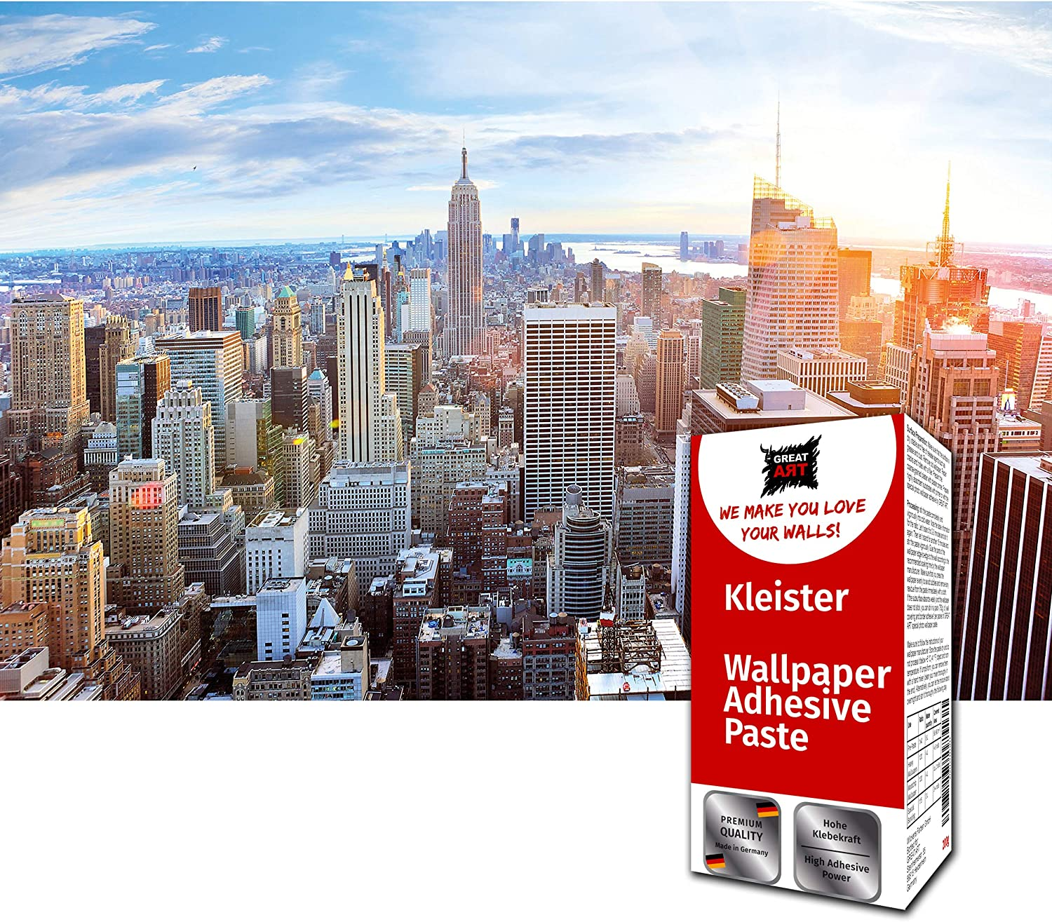 GREAT ART Photo Wallpaper New York Skyline Decoration 132.3x93.7in / 336x238cm – Penthouse View Panorama Dawn Big Apple America USA Skyscrapers Mural – 8 Pieces Includes Paste