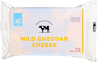 Amazon Brand - Happy Belly Mild Cheddar Cheese Block, 16 Ounce