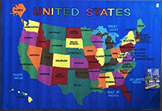 Play Time Kids Area Rug U.S.A. Map Learning Carpet Game...