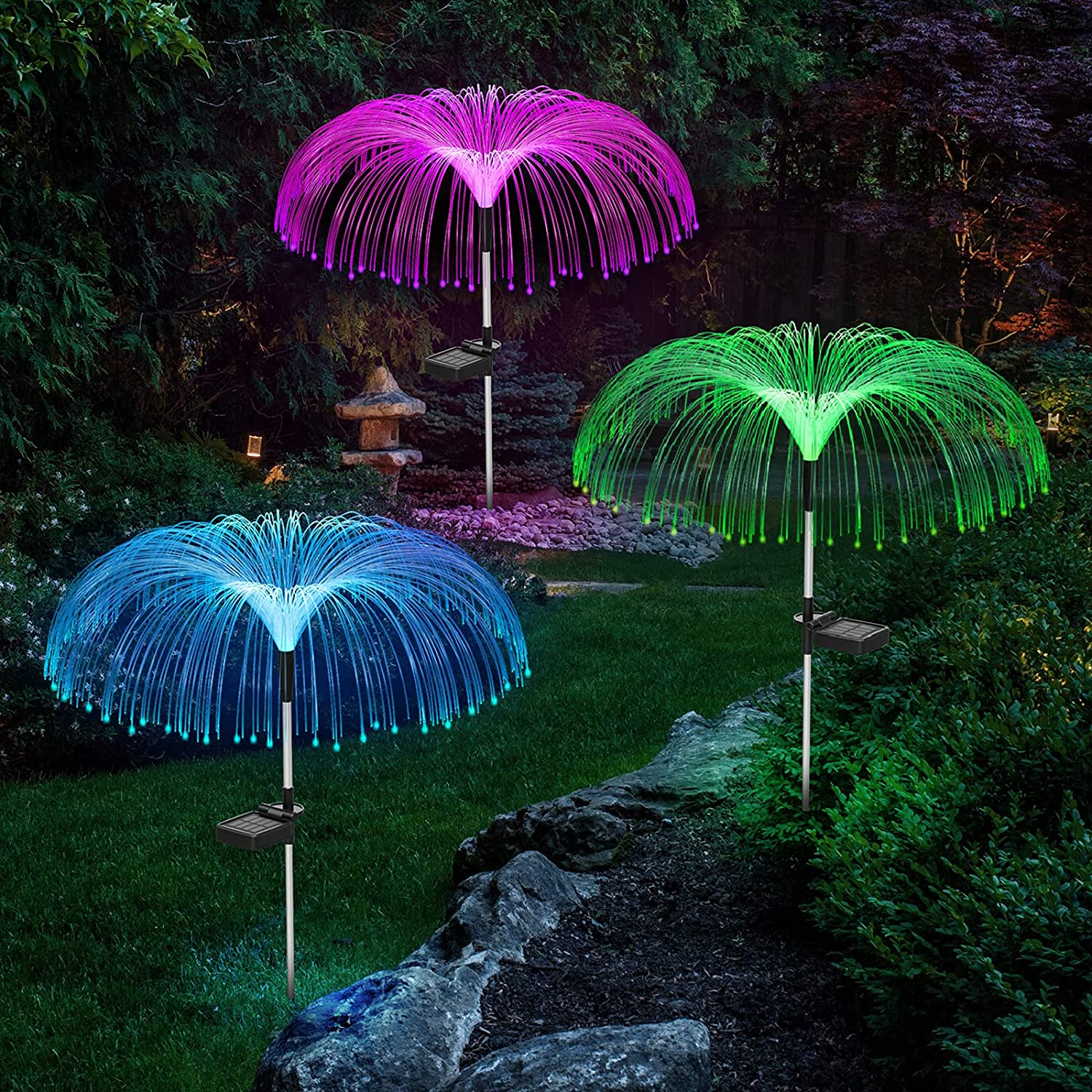 Solar Garden Lights Outdoor Waterproof, Vosaro Solar Flower Lights Jellyfish Decorative, 7 Color Changing Solar Powered Stake Light for Yard Patio Pathway Lawn Holiday Christmas Decor, 3 PCS