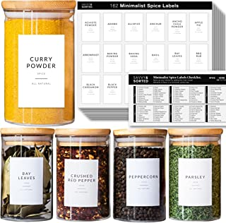 162 Minimalist Spice Jar Labels - Preprinted Spice Stickers - Black Text on White Waterproof Label - Fits Round Bamboo Jar...