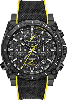 Bulova Men's Stainless Steel Quartz Sport Watch with Rubber Strap, Black, 22.1 (Model: 98B312)