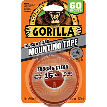 """Gorilla Tough & Clear Double Sided Mounting Tape, 1"""" x 60"""", Clear, (Pack of 1)"""