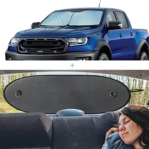 2021 EcoNour Gift Bundle | Foldable 2-Piece Sun Shade for Car Windshield Small (32.5 x 36 Inches) + Sun Shade new arrival for Back Car Window (Large sale 39 x 17 Inches) | UV & Sun Glare Protection online