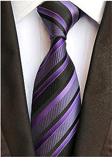 Secdtie Men`s Classic Stripe Jacquard Woven Silk Tie Formal Party Suit Necktie