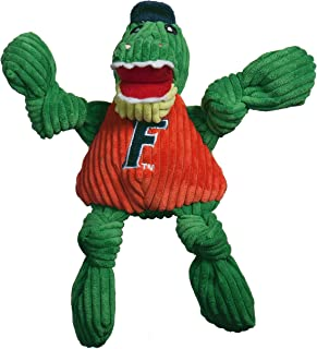 HuggleHounds Officially Licensed College Mascot Plush Corduroy Durable Squeaky Knottie Dog Toy