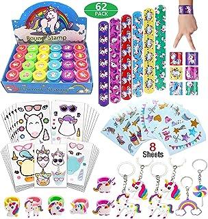 Unicorn Theme Birthday Party Favors for Kids Boys Girls-Make A Unicorn Sticker-Tatoo-Stamper- Rings Keychain-Unicorn Birthday Gift Prizes Goodie Bags Pinata Filler Supplies
