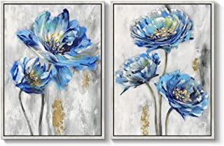 TAR TAR STUDIO Blue Flower Canvas Artwork Framed: Bloom Wall Art Floral Painting Print on Canvas for Bedroom Living Room (...