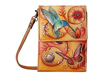 Anuschka Handbags 412 Mini Sling Organizer (Flying Jewels Tan) Cross Body Handbags