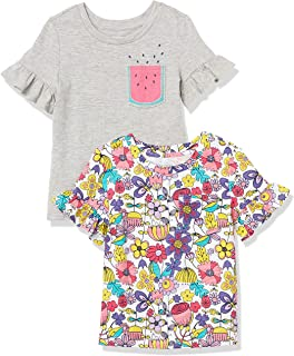 Amazon Brand - Spotted Zebra Girl's Short-Sleeve Ruffle T-Shirts