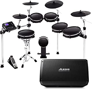 Alesis DM10 MKII Pro Kit + Strike Amp 12 | 10-Piece All-Mesh Electronic Drum Kit Bundled with 2000-Watt Ultra-Portable Pow...