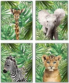 Designs by Maria Inc. Jungle Safari Baby Animals Nursery Decor Art | Set of 4 (Unframed) Wall Prints 8x10