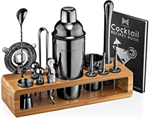 Mixology Bartender Kit: 23-Piece Bar Set Cocktail Shaker Set with Stylish Bamboo Stand | Perfect for Home Bar Tools Bartender Tool Kit and Martini Cocktail Shaker for Awesome Drink Mixing (Black)