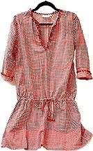Shiraleah Womens Cotton Beach Swim Pool Cover-Up Dress Long Sleeve Red Orange (X-Large)