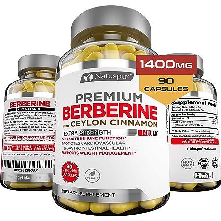 Premium Berberine HCL Plus Ceylon Cinnamon 1400mg for Blood Sugar, Glucose Metabolism, Immune System, Insulin, Diabetes, Cardiovascular & Gastrointestinal Function – Berberine HCI Root Supplement