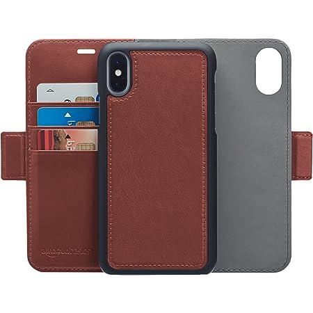 AmazonBasics iPhone X 手機殼 可拆卸自由皮革錢包一體型手機殼 深棕色