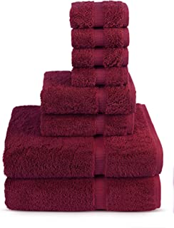 8 Piece Turkish Luxury Turkish Cotton Towel Set (Cranberry) - Eco Friendly, 2 Bath Towels, 2 Hand Towels, 4 Wash Clothes by Turkuoise Turkish Towel