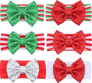 Tatuo 6 Pieces Christmas Glitter Bows Baby Girl Headbands Sequin Head Wraps Hair Accessories for Toddlers Infants Newborns...