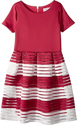Short Sleeve Cut Out Dress with Full Skirt (Big Kids)
