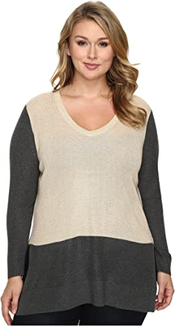 Plus Size Long Sleeve V-Neck Neck Waffle-Stitch Color Block Sweater