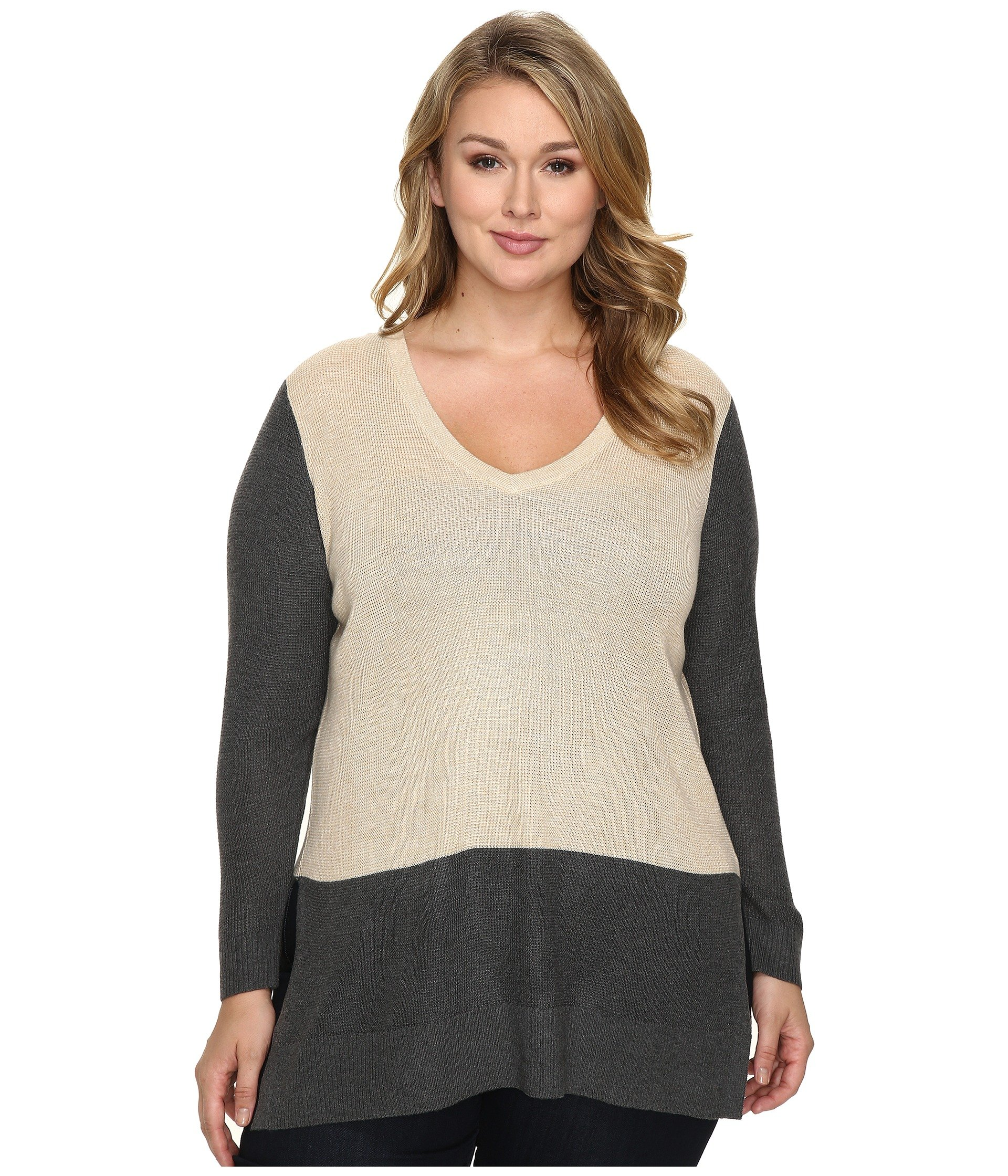 Saco para Mujer Vince Camuto Specialty Size Plus Size Long Sleeve V-Neck Neck Waffle-Stitch Color Block Sweater  + Vince Camuto en VeoyCompro.net
