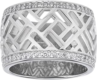 Guy Laroche Band Ring with Cubic Zirconia in Sterling Silver