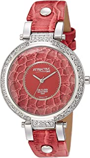 Q&Q Women's Red Dial Leather Band Watch - DA99J312Y