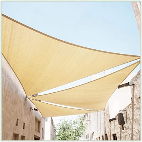 popular ColourTree 18' x 18' x 18' Beige Sun Shade Sail Triangle Canopy Fabric Cloth Screen CAPT18, Water Permeable & UV Resistant, online Heavy Duty, lowest Carport Patio Outdoor - (We Customize Size) sale