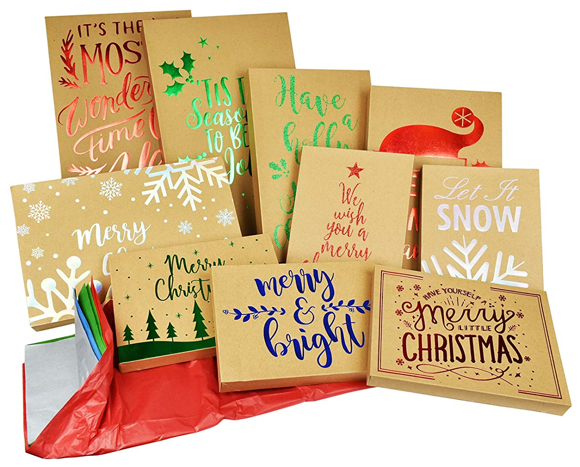 10 Pack Christmas Kraft Gift Boxes and Tissue Paper Bundle with Foil Designs