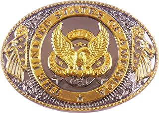 Belt Buckles with Golden American Power Eagle Patriot Design Cowboy Style