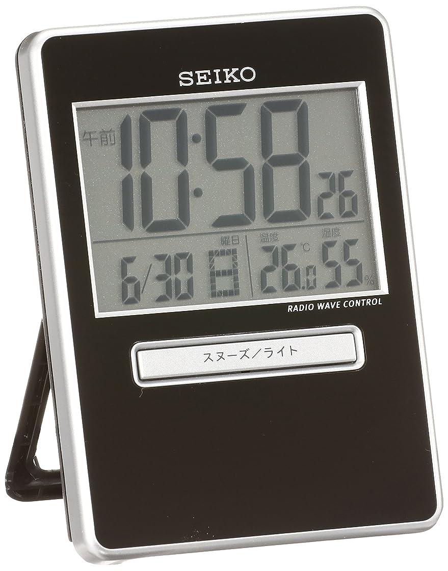 消費者ながら熟したセイコー クロック 目覚まし時計 トラベラ 電波 デジタル カレンダー 温度 湿度 表示 黒 メタリック SQ699K SEIKO