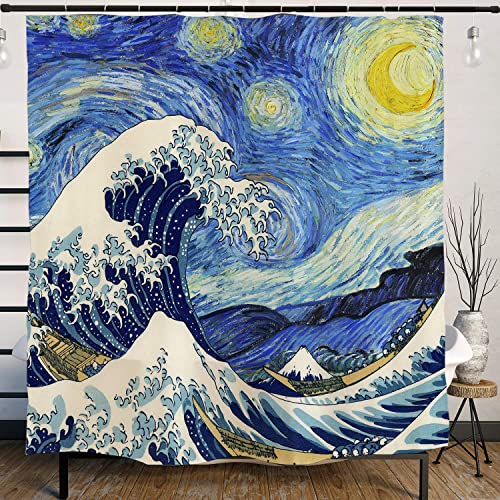 Van Gogh Starry Night And Japanese The Great Wave Painting Artistic Blue Shower Curtain With Hooks