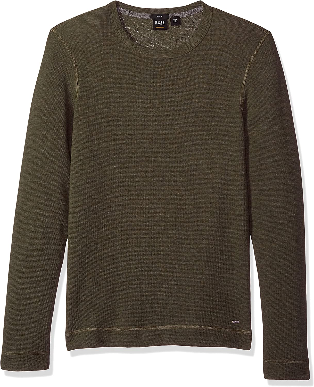 Hugo Boss Mens Tempest Long Sleeve Shirt with Pima Heather Yarn T-Shirt