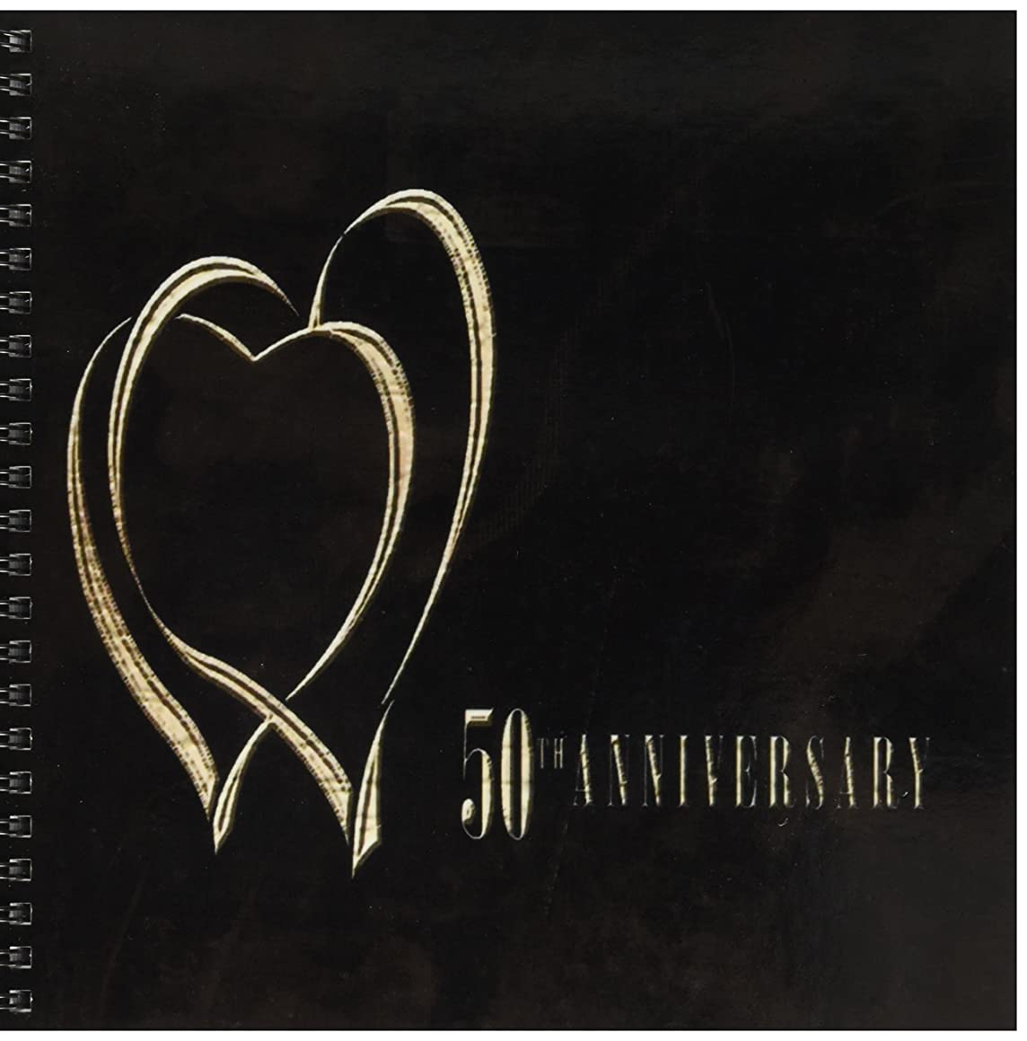 3dRose db_29617_1 Two Gold Hearts 50th Anniversary Drawing Book, 8 by 8-Inch