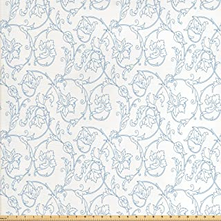Ambesonne Floral Fabric by The Yard, Flower Orchids Bohemian Style Vintage Petals Vines Pattern French Country Style, Decorative Fabric for Upholstery and Home Accents, 1 Yard, White Blue