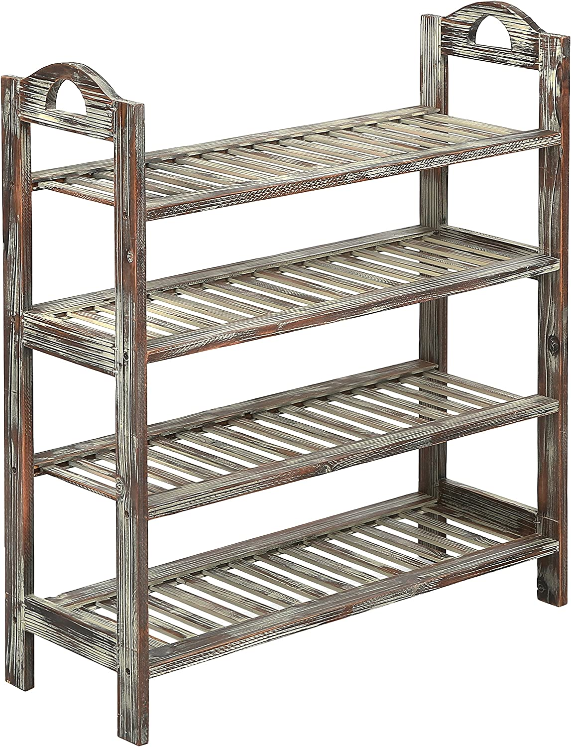 MyGift 4 Tier Country Rustic Torched Wood Slatted Storage shoes Rack, Entryway Utility Shelf