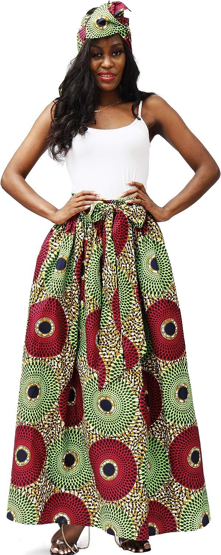 SHENBOLEN Women African Print Skirt Kente Traditional Wax Print Adjustable Strap Maxi Skirt