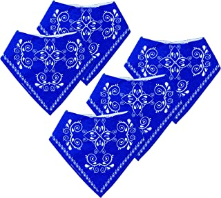 Lil' Westerners Blue Bandanna Drool Bibs for Cowboy & Cowgirl Babies, 100% Organic Cotton Hypoallergenic, Unisex 5-Pack Set, Tested & Proven Soft & Absorbent for Drooling & Teething by MomsUnited
