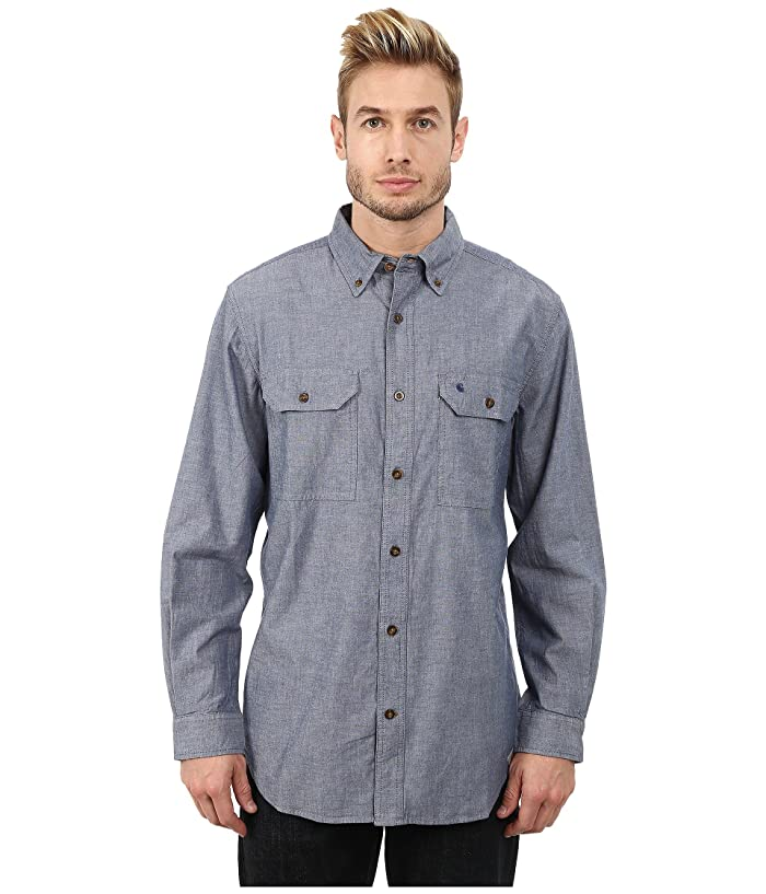 Men's Vintage Workwear – 1920s, 1930s, 1940s, 1950s Carhartt Fort Solid LS Shirt Denim Blue Chambray Mens Long Sleeve Button Up $34.99 AT vintagedancer.com